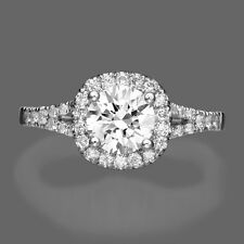 1 D/VS2 CT ROUND CUT DIAMOND SOLITAIRE ENGAGEMENT RING 14k WHITE GOLD