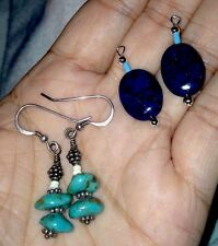Earrings Native American Turquoise & Blue Lapis Stones - LOT Interchangeable!!