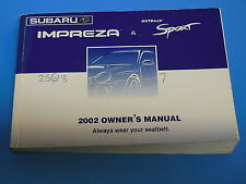 2002 SUBARU IMPREZA OWNERS MANUAL OWNER'S