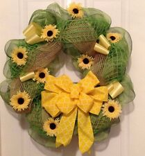 Indoor Outdoor Sunflower Summer Fall Harvest Welcome Burlap Deco MeshWreath