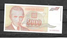 YUGOSLAVIA #128 1993 VF CIRCULATED OLD 5000 DINARA BANKNOTE  NOTE PAPER MONEY