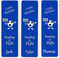 3 CHILDRENS PERSONALISED FOOTBALL BOOKMARKS BLUE,18cm x 5cm LAMINATED