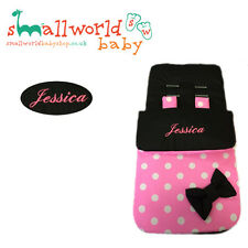 Personalised Black & Pink Polka Dot Footmuff Cosytoes (NEXT DAY DISPATCH)