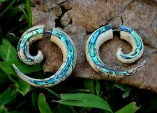 Fake Gauge Earrings ,Tribal Style, Mother of pearl  gold shell faux gauge plugs