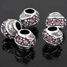 5Pcs Silver Crafts Charms Pink Crystal Beads Lot Fit European Bracelet Wholesale