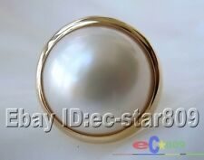 HUGE REAL 8# 20MM WHITE SOUTH SEA MABE PEARL RING