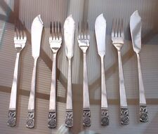 4 PAIRS OF VINTAGE FISH FORKS CUTLERY ~ STAINLESS STEEL ~ ROSE PATTERN