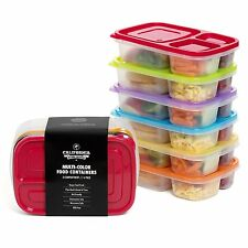 6 Kids Meal Prep Food Containers Reusable Microwave Safe 3 Compartment Bento
