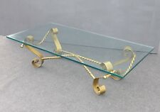 Vintage Spanish Revival Gold Gilt Wrought Iron & Glass COFFEE TABLE Mid Century