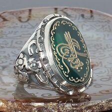 "925 Sterling Silver Islamic Men's Ring with Green Agate ""Bismillah"" engraved"