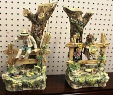 Beautiful Pair Antique French Provence Majolica Boy and Girl At Fence Circa 1890