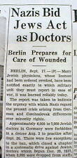 1938 newspaper JUDAICA Holocaust NAZI HITLER forces Jewish Doctors treat Germans