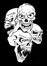 high detail airbrush stencil four skulls  FREE UK POSTAGE