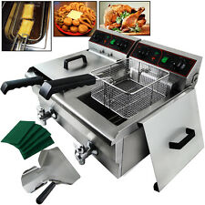 20L Commercial Deep Fryer w/ Timer and Drain Fast Food French Frys Electric NEW