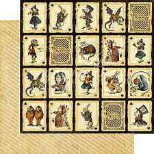Graphic45 JABBERWOCKY 12x12 Dbl-Sided (2pc) Scrapbooking Paper WONDERLAND
