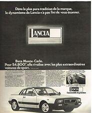 Publicité Advertising 1975 La Lancia Beta Monte-Carlo