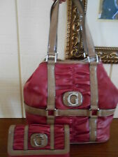 NWT GUESS LOVINGTON VIOLET/RED TOTE HANDBAG W/ BIG WALLET 100% AUTHENTIC