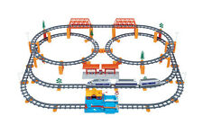 Electric Railway Train Set For Kids Rolling Rail RoadWay Toy Deluxe Scale 136pcs