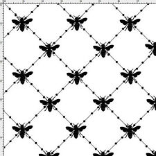 Loralie Fabric Bee Diamond White black bees bee bug cotton sew craft quilt BTY