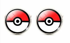 925 Silver Plated Pokemon Cufflinks Cartoon Pokeball Cuff links Tie Clip Pikachu