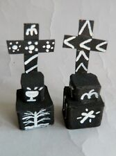 Mexican Day of the Dead Tiny Recycled Cardboard Tombs with Cross, Oaxaca, 1985