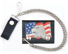 USA FLAG WITH EAGLE TRIFOLD MOTORCYCLE BIKER WALLET W CHAIN mens #551 LEATHER