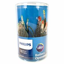 Philips 18CT LED micro lights Multi  Lights battery operated Green Wire Indoor