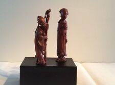 黃揚木 Chinese boxwood carved of 2 immortals longevity figures