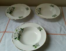 Set of 3 Vintage Royal Stafford china rimmed soup bowls Camellia white green vgc