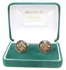 1953 Sixpence cufflinks from real coins in Black & Gold