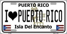 I LOVE PUERTO RICO State Background Novelty Metal License Plate