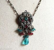 pendentif collier bijou vintage victorien quartz cristaux pampille * 4823