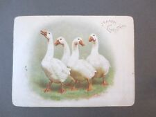 ANTIQUE Christmas Greetings Card White Geese Chromo Litho Victorian