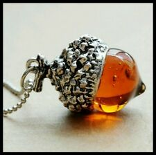 Vintage Style Amber Glass Oak Acorn Pendant Necklace Silver Plated + Gift Bag UK