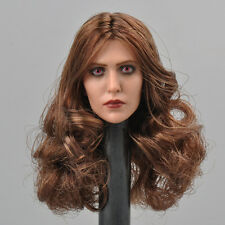1:6 Scale Scarlet Witch Red Eyes Head Carved Female Girl Head Model Toy
