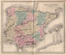 1858 ANTIQUE MAP SPAIN AND PORTUGAL