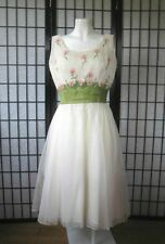 Vintage Party Dress Frank Starr 1950s 1960s Beaded White Pink Green 37 M Formal