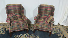 Pair Plaid Wing Back Chairs Club