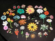 Vintage 60s ENAMEL FLOWER Metal Pin Brooch & Earring Lot - 40+