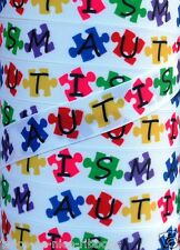 "5 Yds 7/8"" INDIVIDUAL PUZZLE PIECES AUTISM AWARENESS AUTISTIC GROSGRAIN RIBBON"
