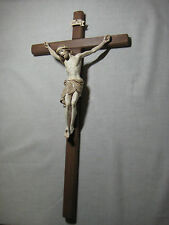 "13"" Carved Wall Cross and Crucifix - Stained with Gold Edging - Good Friday"