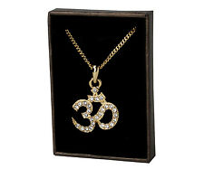 Hindu Om Necklace - Gold Plated | Religious Diwali Hindi New Years Birthday Gift
