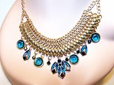 APT. 9 Necklace NEW w/$28 Tag: Woven Brushed Gold Teal Blue & Brown Luster Beads