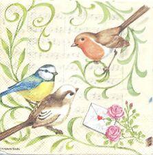 3 Serviettes en papier Cocktail Oiseau Chant Paper Napkins Singing Birds