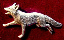 Pewter Fox Hunting Running Fox Brooch Pin Quality