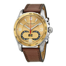 Victorinox Swiss Army Chrono Classic Gold Dial Brown Leatherl Mens Watch 241617