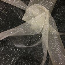 """Sparkle Glitter Tulle Fabric Wedding Decoration Craft Event 60"""" - Off White"""