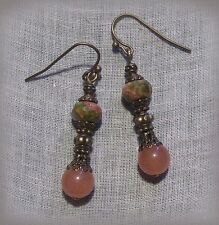 BRONZE FILIGREE UNAKITE PINK JADE EARRINGS CORAL PEACH MOSS OLIVE VICTORIAN DECO
