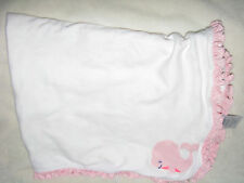 Carters Just One You Pink White Whale Baby Girls Receiving Blanket Cotton