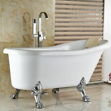 Free Standing Floor Mounted Bathroom Tub Faucet Clawfoot Tub Filler Mixer Tap